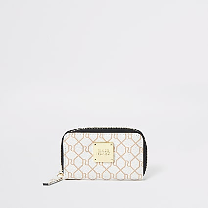 Beige RI monogram mini purse