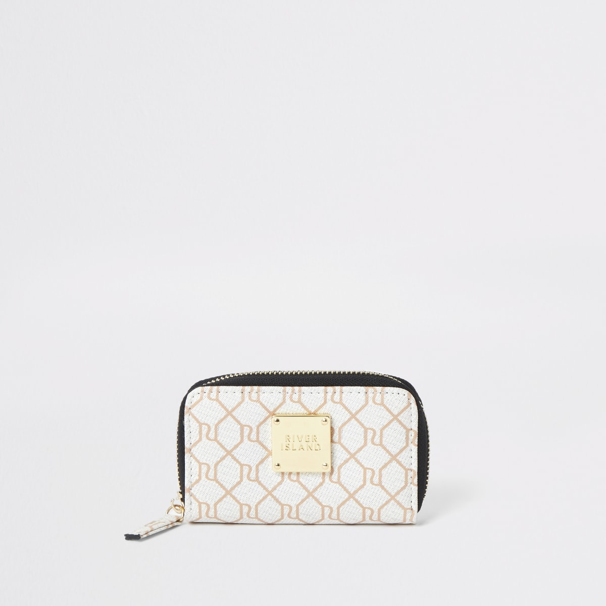 Beige RI monogram mini purse