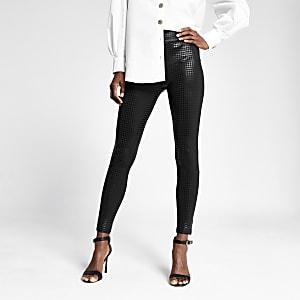 Black houndstooth check coated leggings