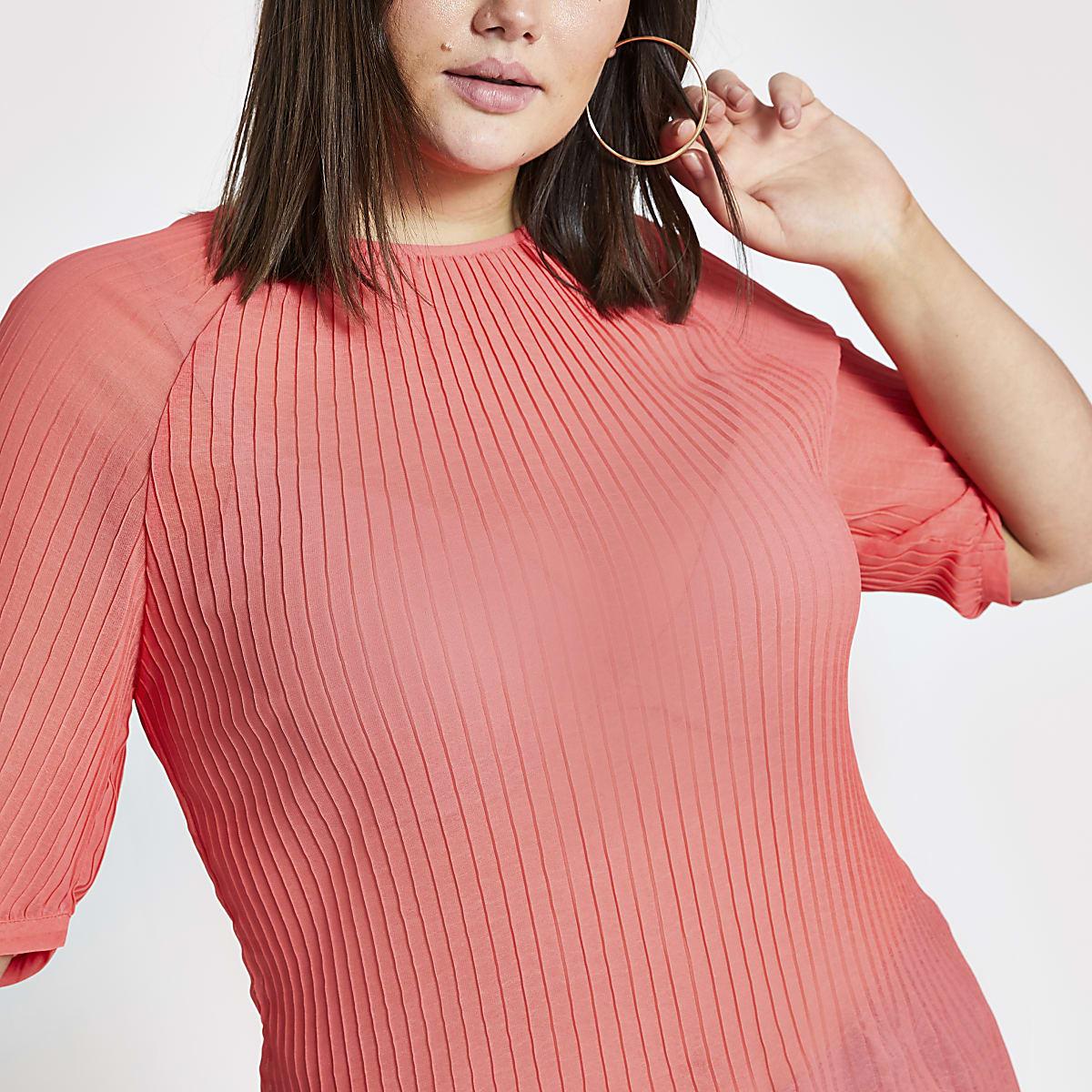 RI Plus - Felroze plissé top