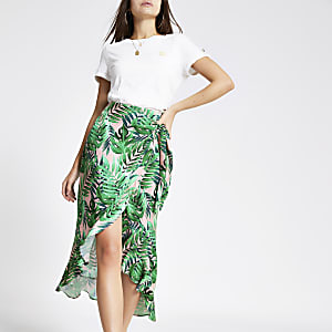 Green palm print frill midi skirt