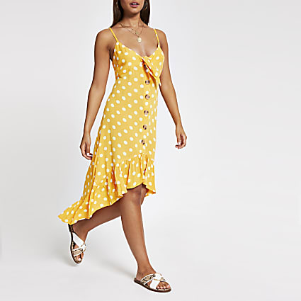 Orange spot beach midi dress