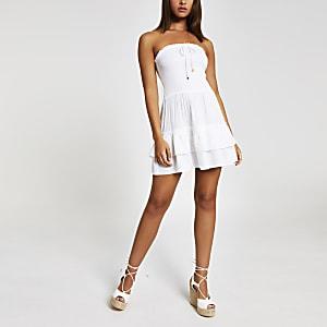 Weißes Bandeau-Minikleid