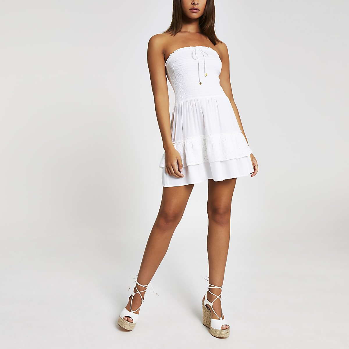 White bandeau mini beach dress