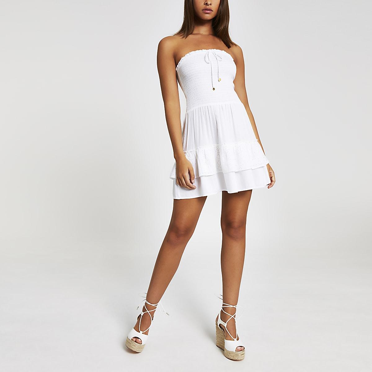Mini robe de plage bandeau blanche
