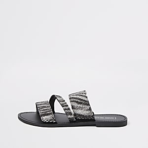Black zebra print double strap sandal