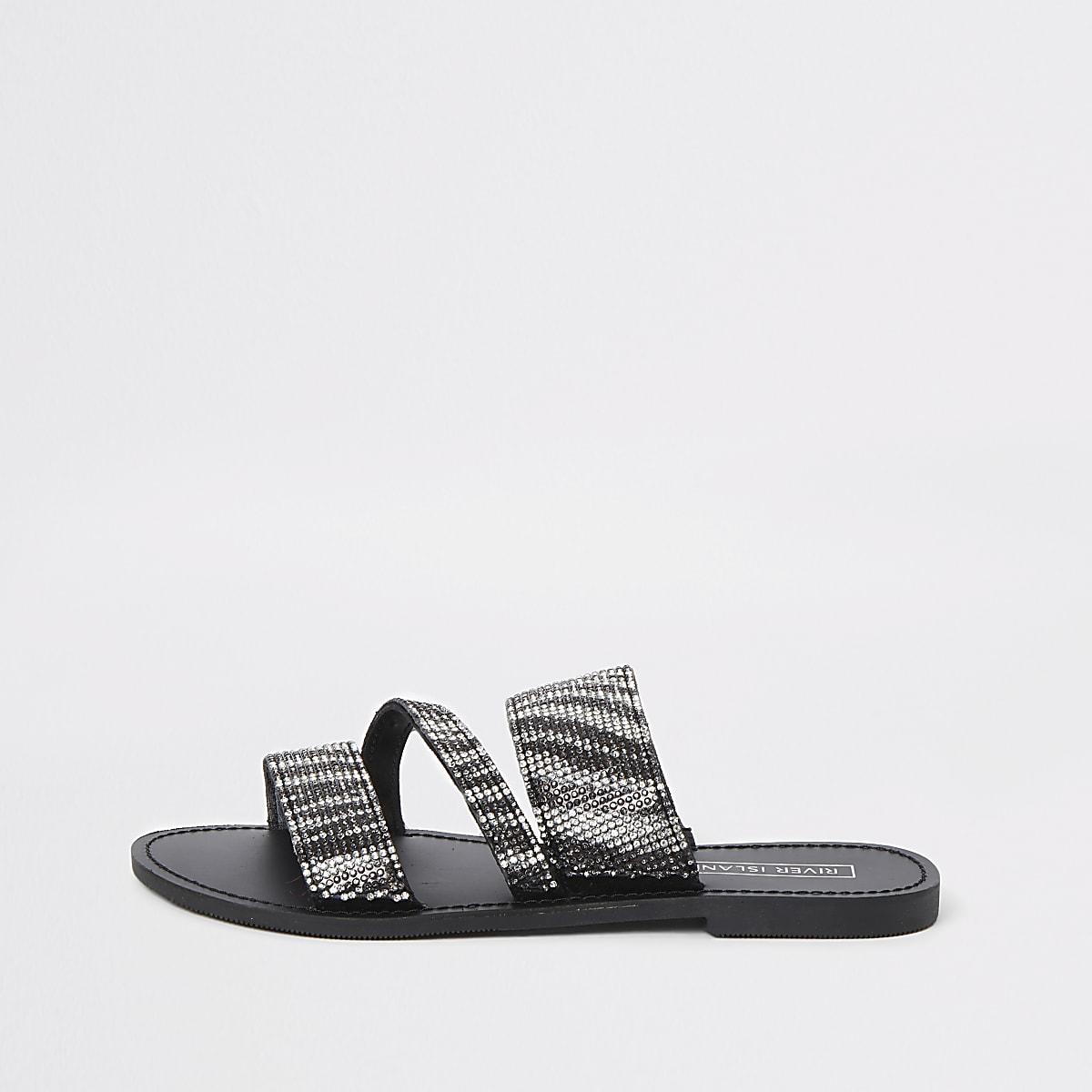 Zwarte sandalen met dubbele bandjes en zebraprint