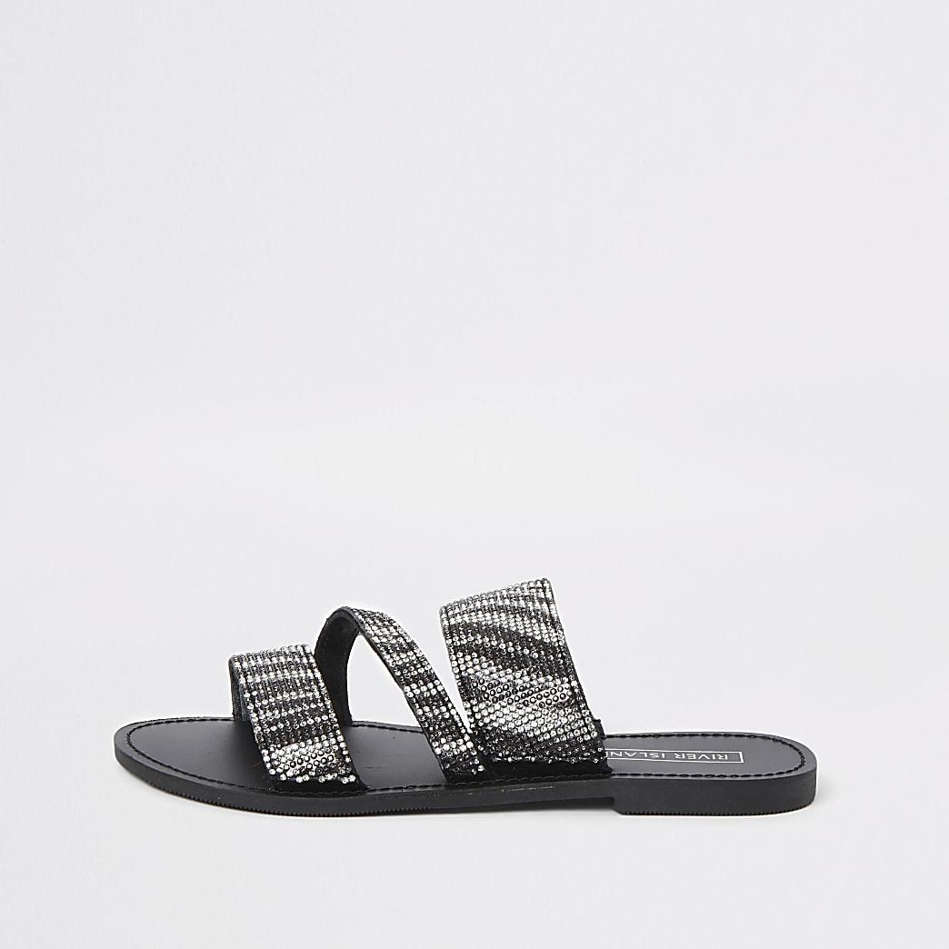 Sandales à imprimé zèbre noires à double bride