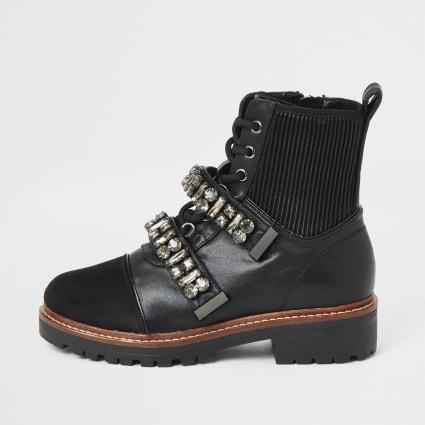 Black embellished strap chunky biker boots