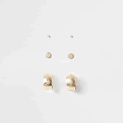 Gold colour stud and hoop earrings multipack