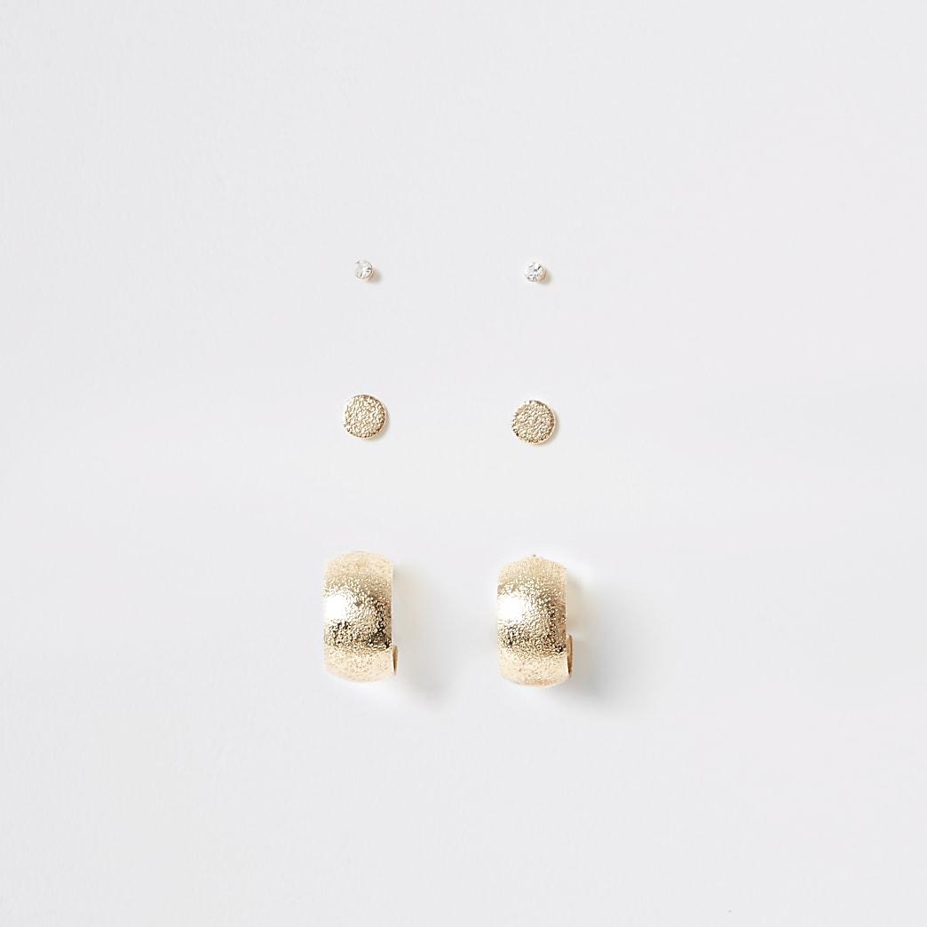Lot de boucles d'oreilles dorées avec créoles et clous