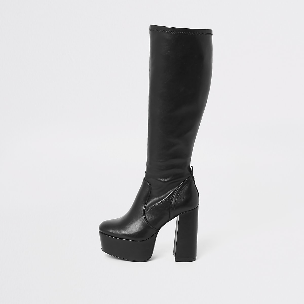 Black knee high platform boots