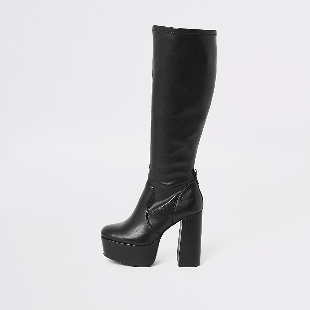 Zwarte kniehoge laarzen met plateauzool