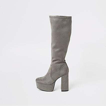 Grey suedette high leg platform boots