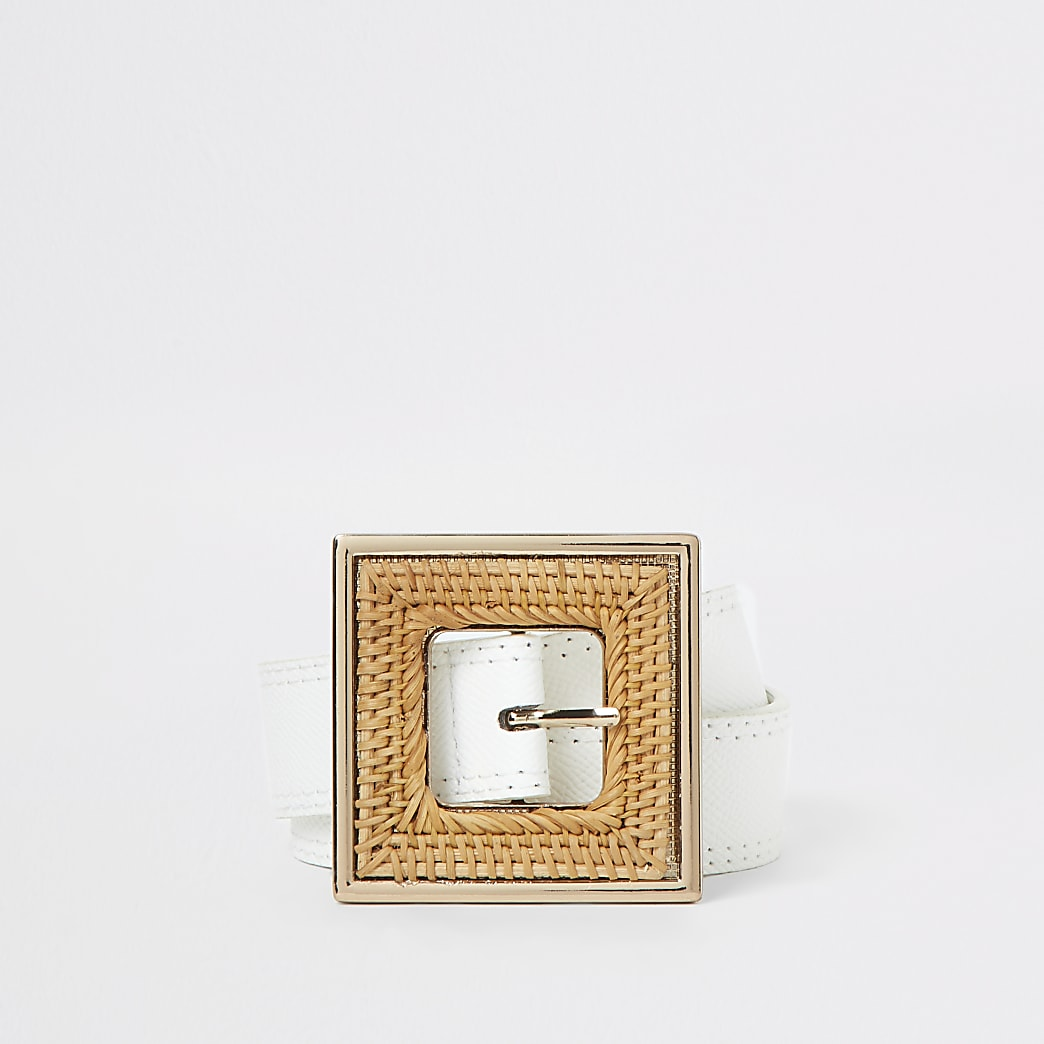 White woven buckle waist belt