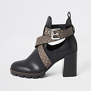 Black strappy RI embossed cutout heel boots