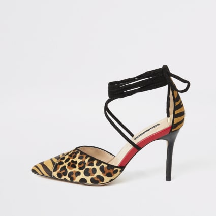 Brown leopard print tie up court shoe