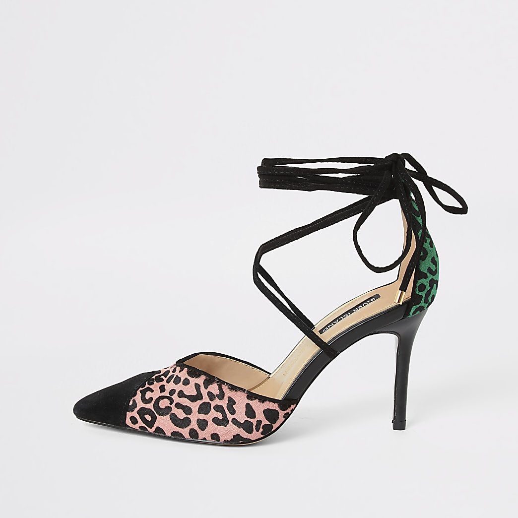 Pink leopard print leather strappy court shoe