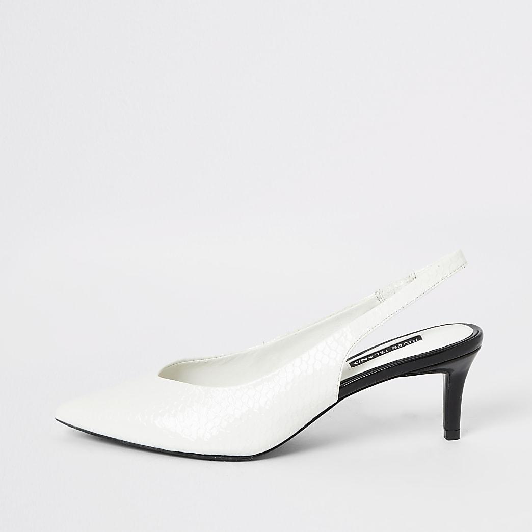White slingback kitten heel court shoes