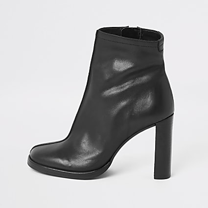 Black leather platform heel ankle boot
