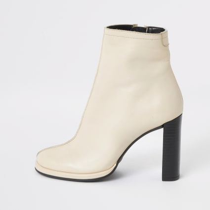 White leather platform heel ankle boot
