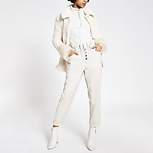 Cream faux leather paperbag button trousers