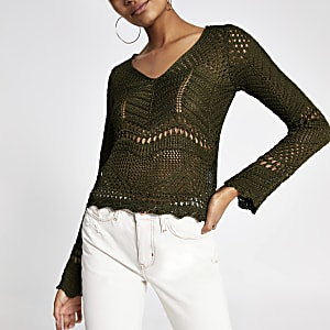 Khaki long sleeve crochet knit top