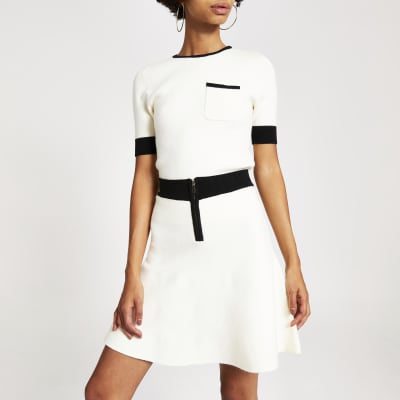 Cream Contrast Tipped Knitted Top by River Island