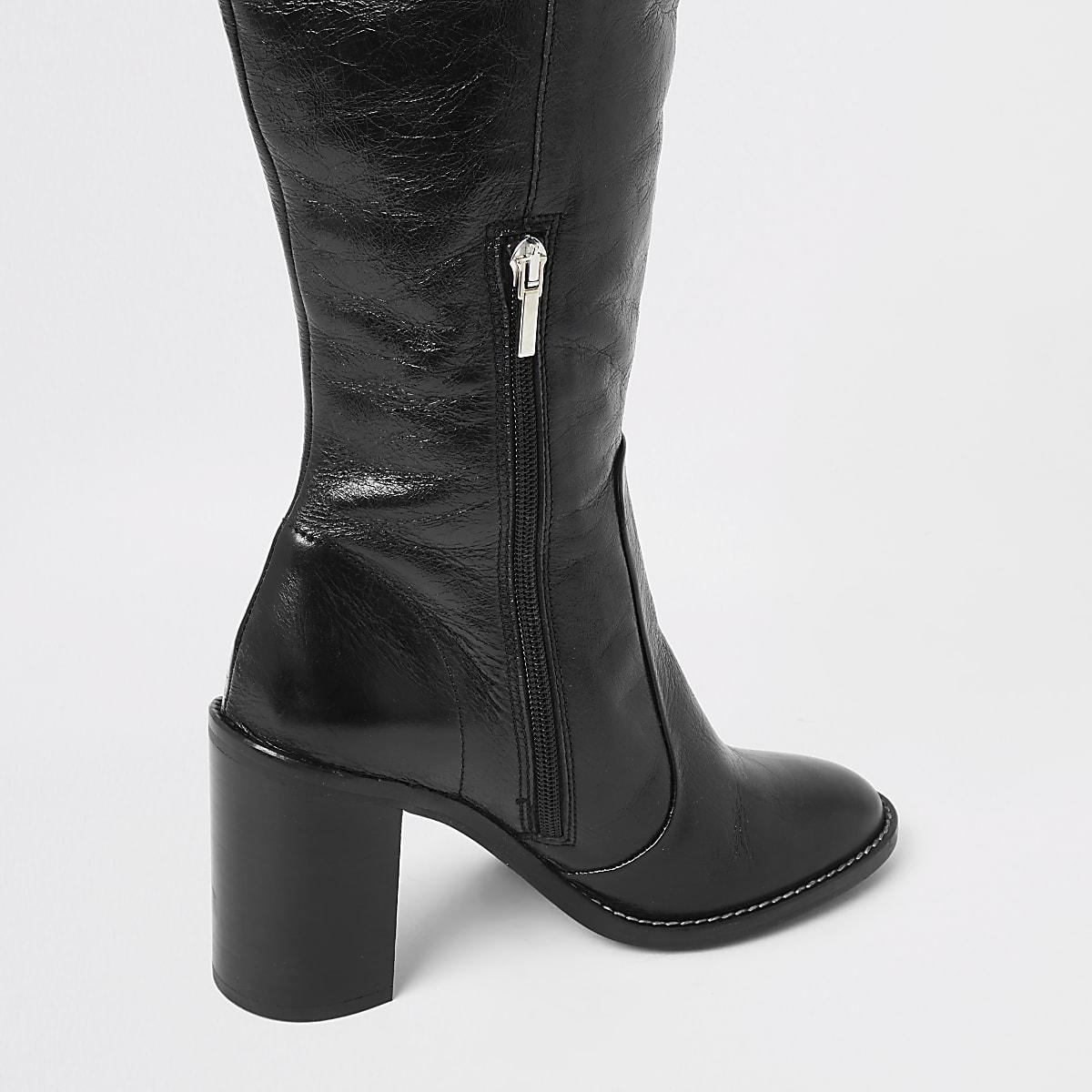 b01401ee395 Black leather block heel knee high boots