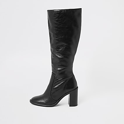 Black leather block heel knee high boots