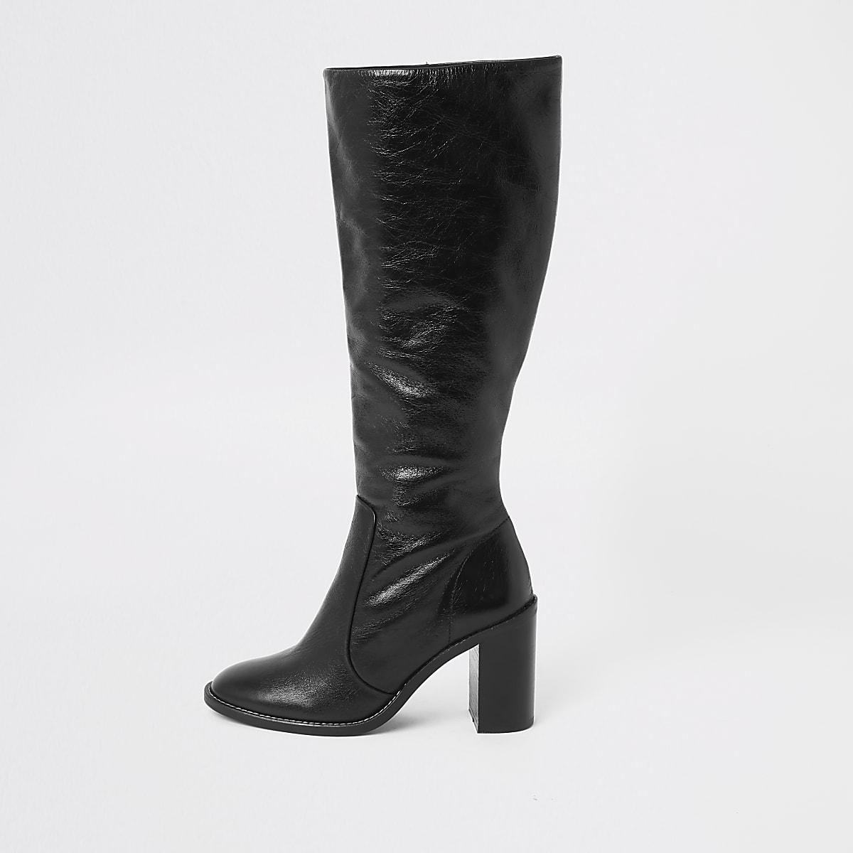 Black leather block heel knee high boots