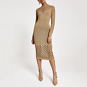 Beige knitted mesh long sleeve bodybon dress