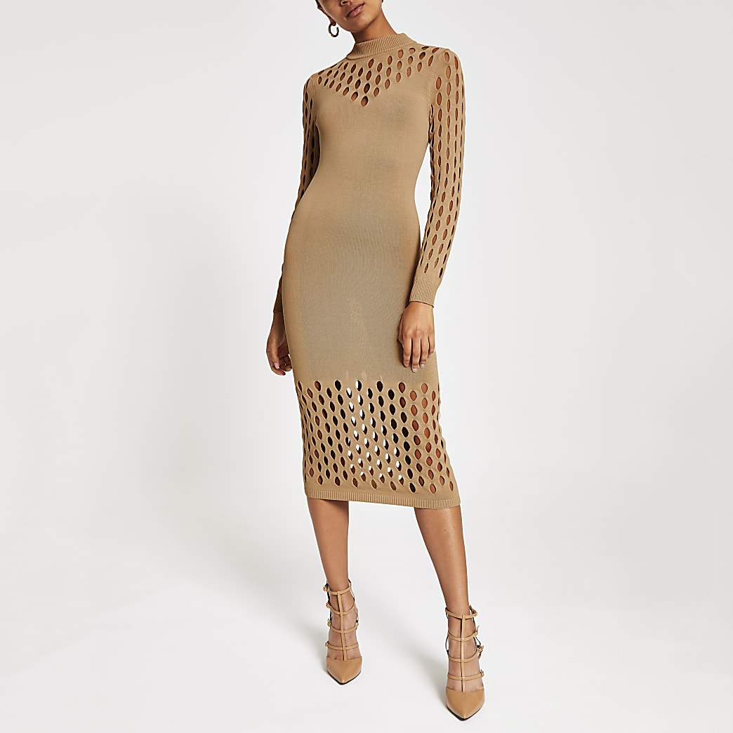 Beige knitted mesh long sleeve bodycon dress