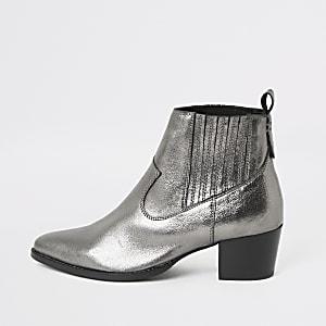 Bottines en cuir argenté métallisé style western
