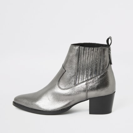 Silver metallic leather western ankle boots