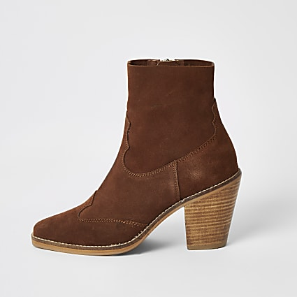 Brown suede western heeled ankle boots