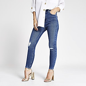 Petite blue Hailey high waist ripped  jeans