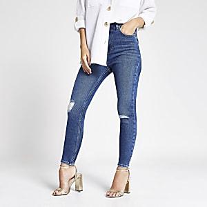 Petite – Hailey – Blaue Jeans im Used-Look mit hohem Bund