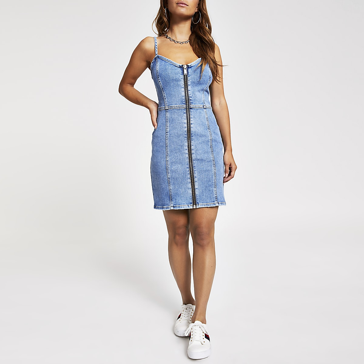 Petite mid blue zip front denim mini dress
