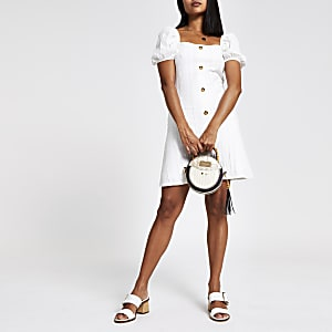 Petite puff sleeve button front mini dress