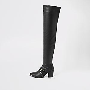 Zwarte nepleren laarzen tot over de knie