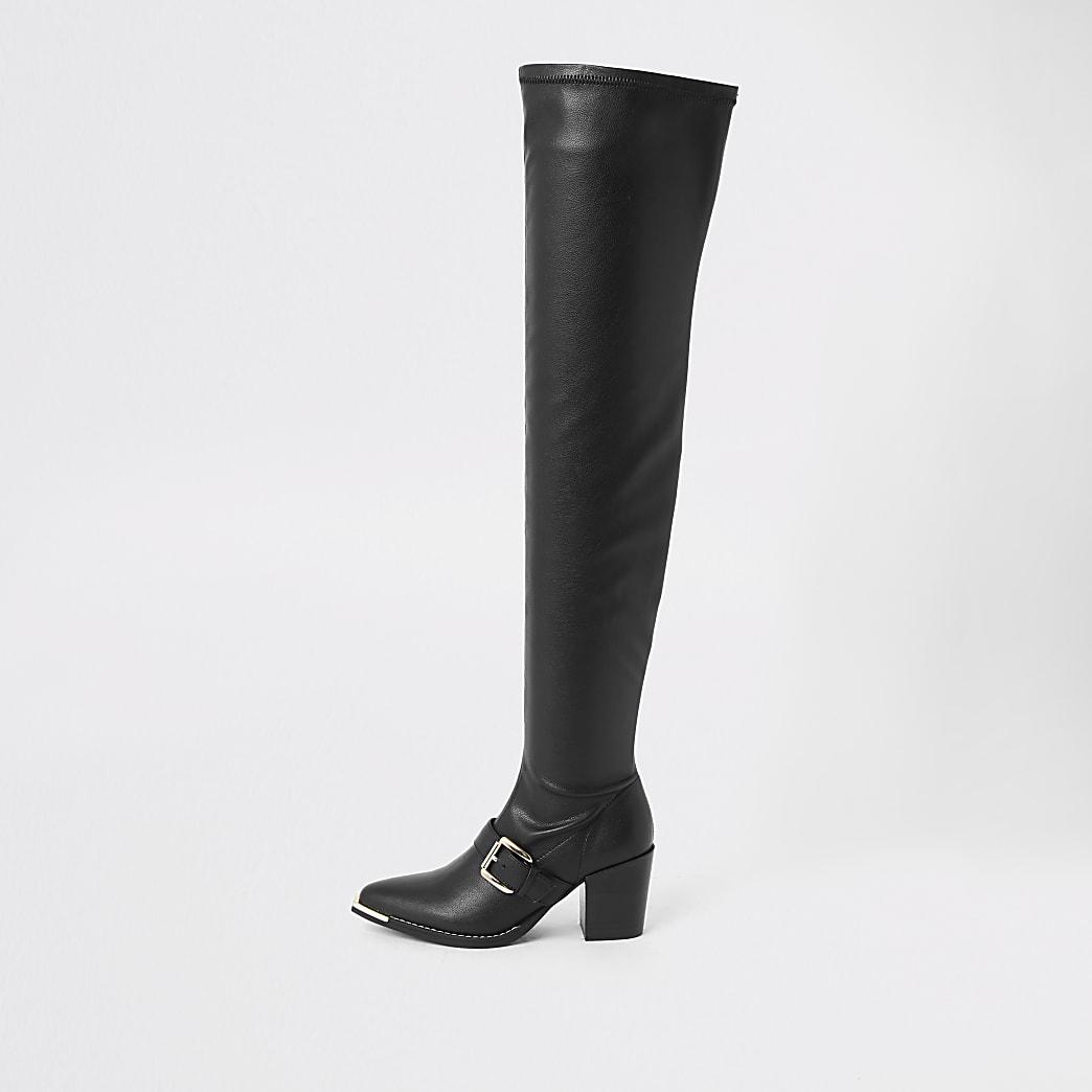 Schwarze Overknee-Stiefel aus Lederimitat