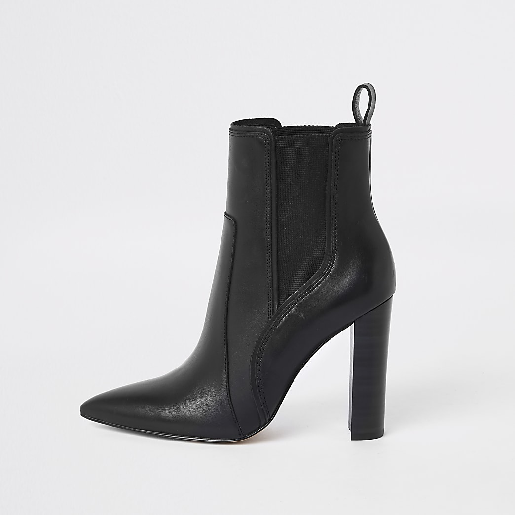 Black leather pointed western heeled boot