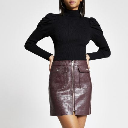 Red faux leather croc embossed mini skirt