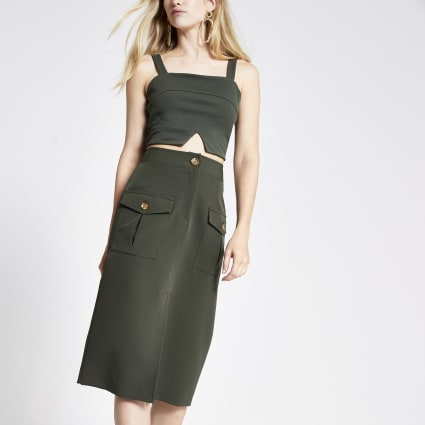 Khaki utility pencil skirt