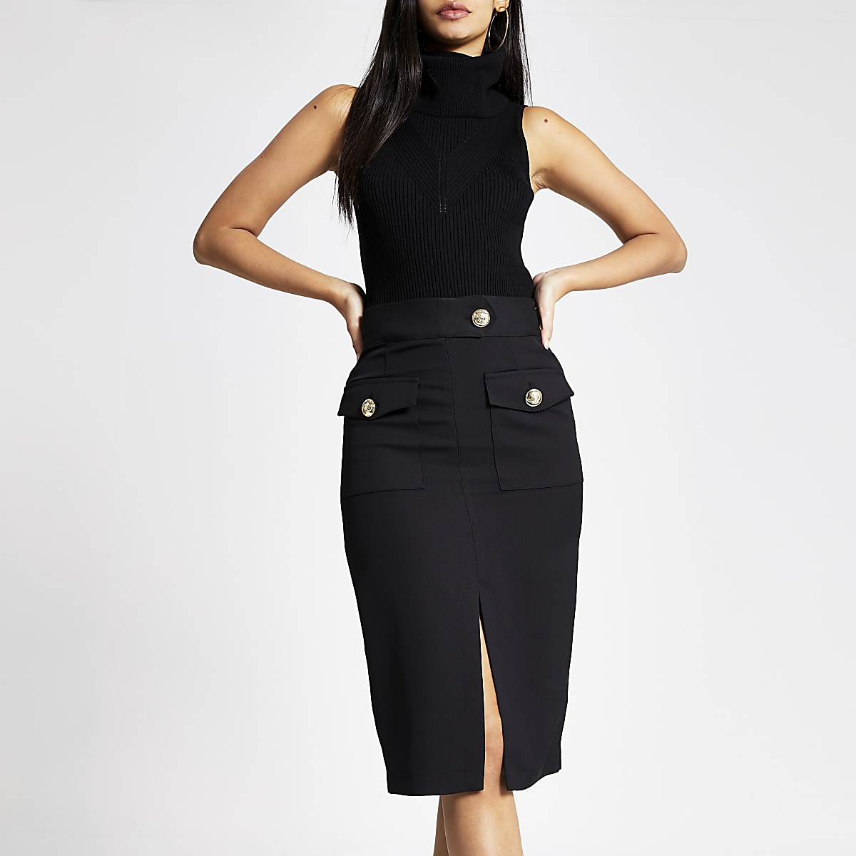 Black utility pencil skirt