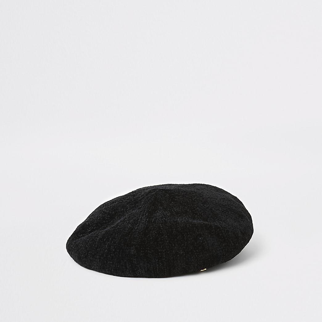 Béret noir chenille à bordure en cuir synthétique