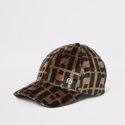 Brown Faux Fur Ri Monogram Cap by River Island