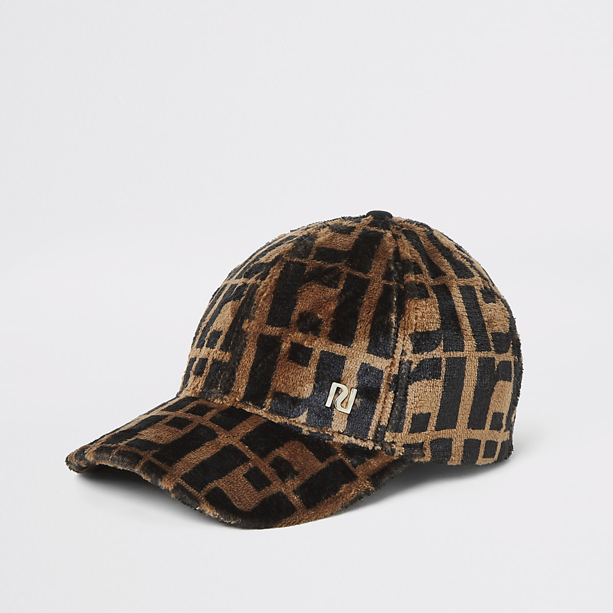 Brown faux fur RI monogram cap