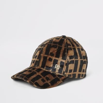 Brown faux fur RI monogram cap